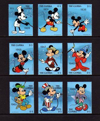 GAMBIA - 1989 - DISNEY - MICKEY THROUGH THE YEARS - 60th BIRTHDAY - 9 X MNH SET!