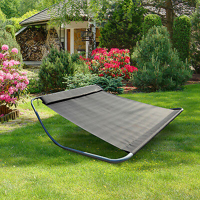 Rocking Sun Lounger Double Hammock Bed with Steel Stand for Garden beach Grey