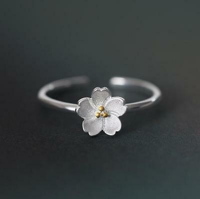 925 Silver Plated Yellow Flower RING Thumb/ Wrap Ring. ADJUSTABLE. CZ