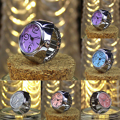 Creative Dial Quartz Analog Stainless Steel Elastic Finger Lovers Ring Watches