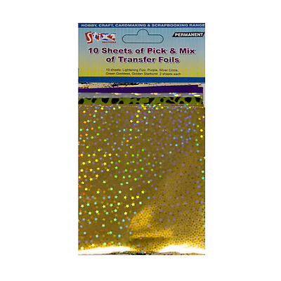 10 Sheets Transfer Foils Pick & Mix Colours Purple Gold Star Silver Stix 2 57369