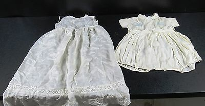 Vintage Fine Fabric Christening Gown & Embroidered Romper Suit