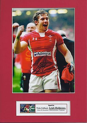 Leigh Halfpenny Signed Photo Mount Display, Wales Rugby Pre-Print To Fit A4