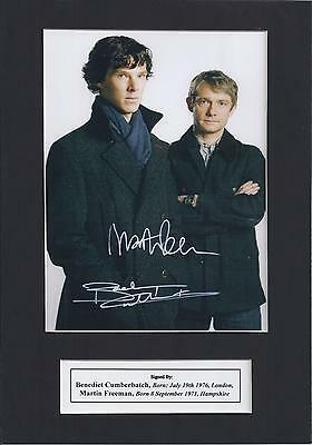 Sherlock Benedict Cumberbatch & Martin Freeman Signed Photo Mount Display, A4 pp