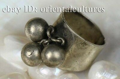Vintage tribal exotic chinese handmade miao silver ring