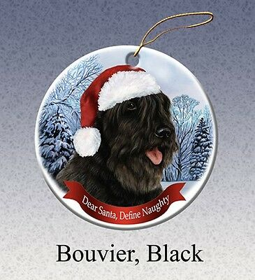 Dear Santa Define Naughty Ornament - Black Bouvier des Flandres HO037
