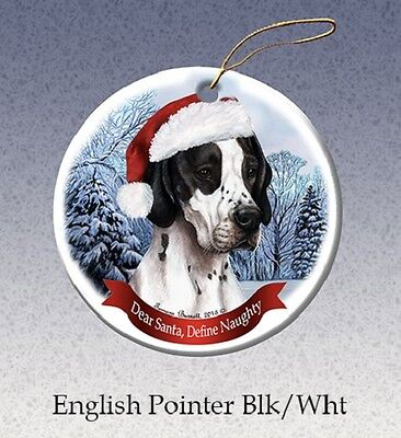 Dear Santa Define Naughty Ornament - Black & White Pointer HO101