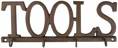 Rustic Cast Iron Decorative 'TOOLS' Hooks for Home & Garden Shed, Garage etc