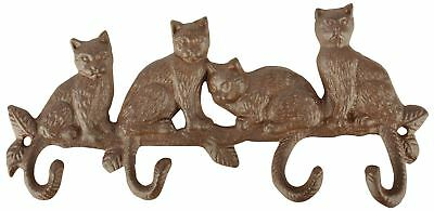 Rustic Cast Iron Decorative Hooks for Cat Lovers - Home, garden utility room etc