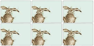 Set Of 6 Hare Rabbit Cork Backed Heat Resistant Placemats 30.5 X 23 X 0.5Cm