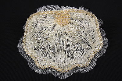 Vintage Wedding Retro Bridal Headpiece Ivory & Off-White Pleated Tulle & Sequins