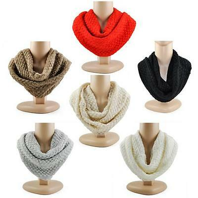 Crochet Cable Knit Infinity Scarf 2 Circle Cable Knit Neck Long Women Shawl Gift