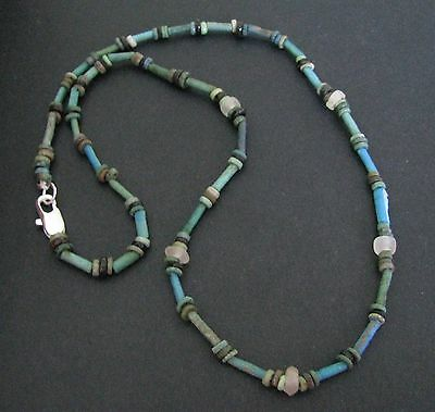 NILE  Ancient Egyptian Rock Crystal Amulet Faience Mummy Bead Necklace ca 600 BC