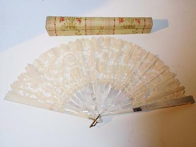 Antique Duvelleroy Mother of Pearl & Lace Hand Fan with Box
