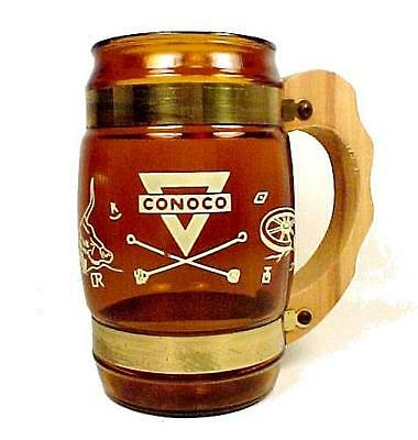 Conoco Oil Advertising Siesta Ware Cup Mug Western Amber Glass Wood