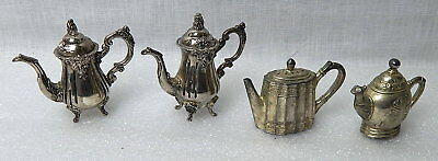 Godinger Silver Plate 2 Pairs Mini Teapots Salt And Pepper Shakers Detailed!
