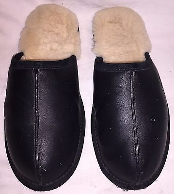 Mens Size 12 UGG AUSTRALIA SCUFF 1001546 Black Leather Slippers House Shoes