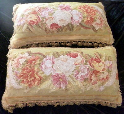 """PAIR Antique 19thC FRENCH Aubusson 24"""" PILLOW Wool Tapestry ROSES Flowers"""