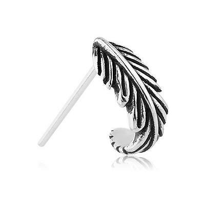 925 Sterling Silver Nose Hugger Ring L Bend Bone Screw Feather 22G 20G 18G