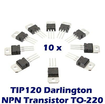 10 pcs TIP120 Darlington Transistor TO-220 NPN BJT ST for Arduino