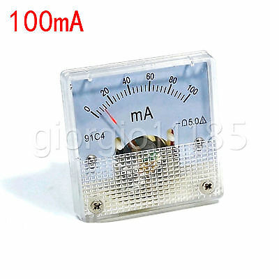 US Stock DC 0 ~ 100mA Analog AMP Current Pointer Needle Panel Meter Ammeter 91C4