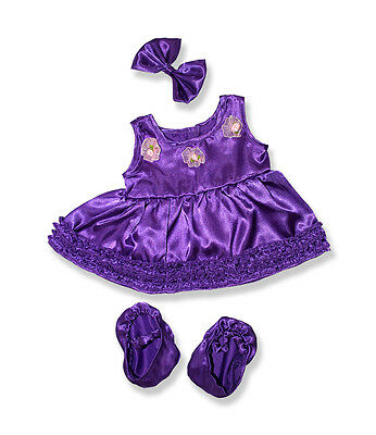 "Purple ballerina with slippers & earbow outfit clothes fits 15"" Build a Bear"