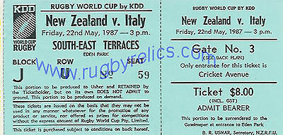 NEW ZEALAND ALL BLACKS v ITALY 1987 RUGBY WORLD CUP FIRST EVER RWC TICKET
