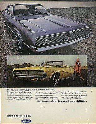 New American Mercury Cougar Coupe & Convertible continental accent ad 1969