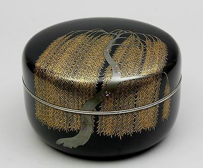 Very fine japanese Wooden Lacquer ware willow design covered bowl H98