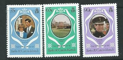 Turks & Caicos Is. Sg653/5 1981 Royal Wedding Change Colour Set  Mnh