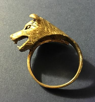 Vintage Sterling Silver Wolf Head Or Very Angry Dog Ring Size 8.5-9