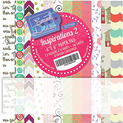 """Inspirations 2 Sweet Dixie 6 x 6"""" Scrapbooking Paper Assorted Colours 36 Sheets"""