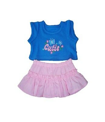 """Cutie flower butterfly t-shirt skirt outfit teddy clothes fits 15"""" Build a Bear"""