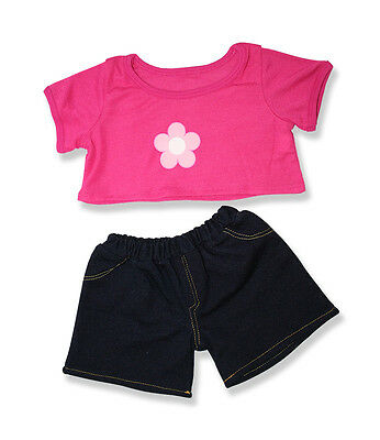 """Pink Daisy T-shirt Blue Denim Jeans outfit teddy clothes fits 15"""" Build a Bear"""