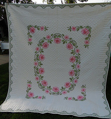 Beautiful Vintage Pink Roses Hand Quilted Embroidery Cross Stitch Quilt