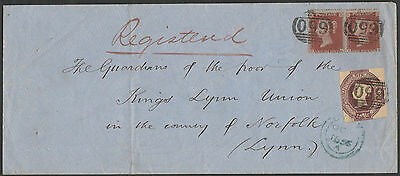 1855 SG60 6d PURPLE EMBOSSED & 1d RED STARS PAIR REGISTERED COVER TO LYNN