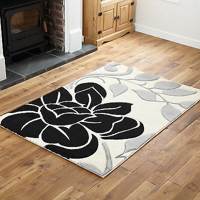 Black Cream Grey Small X Large Modern Floral Designer Rug Thick Soft Runner Rugs