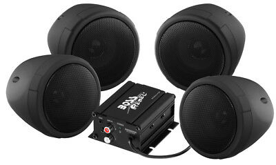 Boss Audio MCBK470B Bluetooth (4) Speakers+Amp Handlebar System Motorcycle/ATV