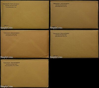 (5) 1960-64 Proof Set Date Run ~ Original Envelope With COA ~ US Mint Silver Lot
