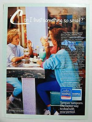 1989 Tampax Tampons Vintage Magazine Ad Page - Cute Young Girls at a Diner