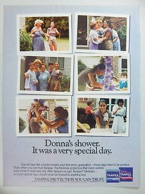 1986 Tampax Tampons Vintage Magazine Ad Page - Donna's Shower - Special Day