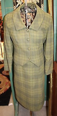 Vintage 1960s Ladies Green Plaid Wool Pendleton Suit Jacket Skirt