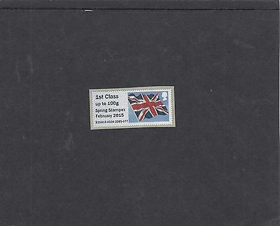 GB 2015  Post & Go Frama ATM Union Flag STAMPEX overprt 1st single stamp m/c A4
