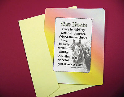 """The Horse"" - Poem - Keepsake Enclosed Verse Card - sku# 581"
