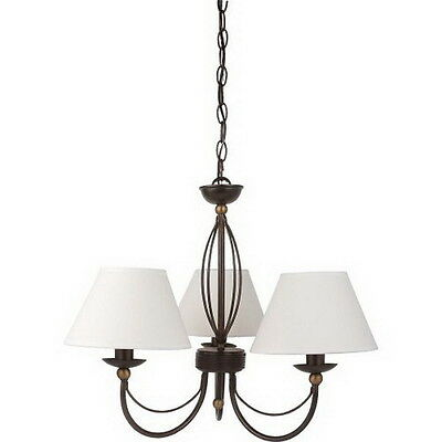 Bronze With Dark Antique Brass Accents 3 Light Chandelier With Shades