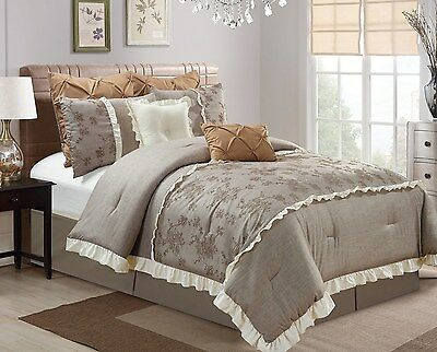 8-Pc Thalia Embroidered Roses Faux Linen Medium Taupe Bed-In-A-Bag Comforter Set