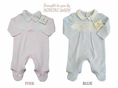 Baby Boys Girls Babygrow Sleepsuit Gift Pink Blue Occasion Boutique 1m 3m 6m