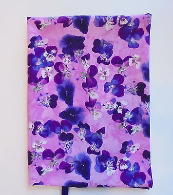 """FABRIC Hardback Book Cover 6""""x9"""" Book Scattered Pansy Fabric For 6""""x9"""" Book NEW"""