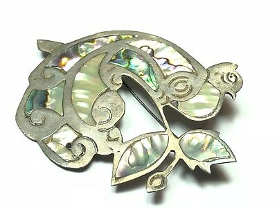 Antique Flower Style 925 Sterling Silver Hechoen Mexico Pin Brooch Signed AOA DF