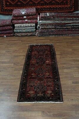 Animal Design Hand Knotted Hamedan Persian Runner Rug Oriental Area Carpet 4X10
